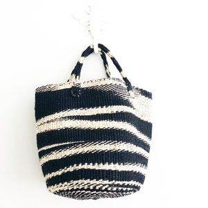 Hand Woven Bucket Bag Black Purse Handbag